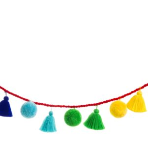 Jumbo pom pom and tassel garland