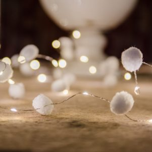 PomPom Galore Galaxy White Pom Pom Fairy Lights 3m long on timer battery boxes