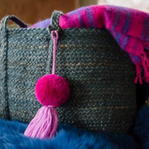 Kat Basket by PomPom Galore with magenta jumbo pom bag swag