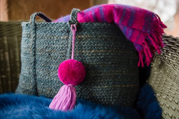 Jumbo Pom POm and Tassel Bag Swag Magenta Pom and Lilac Tassel