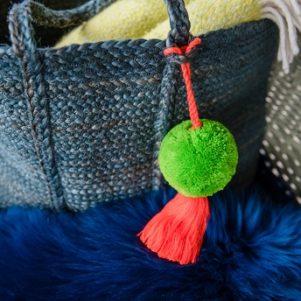 Jumbo Pom Pom and Tassel Bag Swag Green and Orange