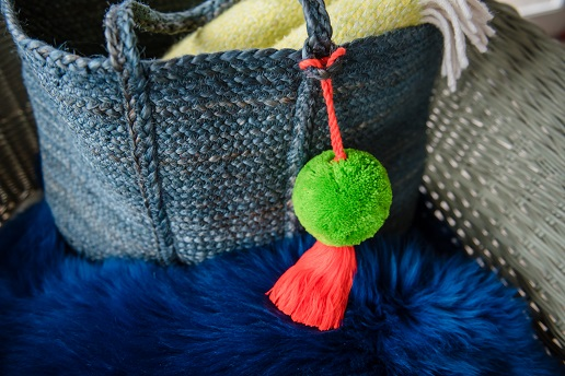 Jumbo Pom Pom and Tassel Bag Swag Green and Orange