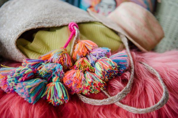 Wool Multi Coloured Tassel Bag Swag