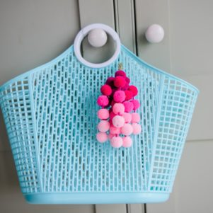 Small Ombre Pom Pom bag charm clip PINKS