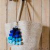 Large Blues Ombre Dangle Pom Pom Bag Charm