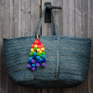 Rainbow Pom Pom Bag Charm