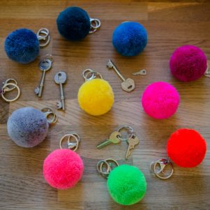 Pom Pom 7cm Round Colourful Key Rings