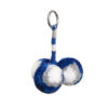 Trio Blue Grey and White Bag Charm on silver carbina clip