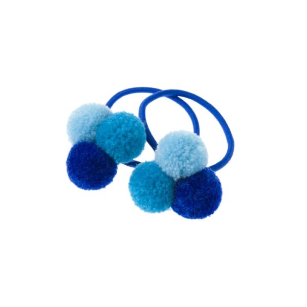 Trio of mini blue pom poms hair bobble