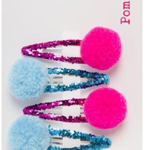 om Pom pink and blue glitter slide