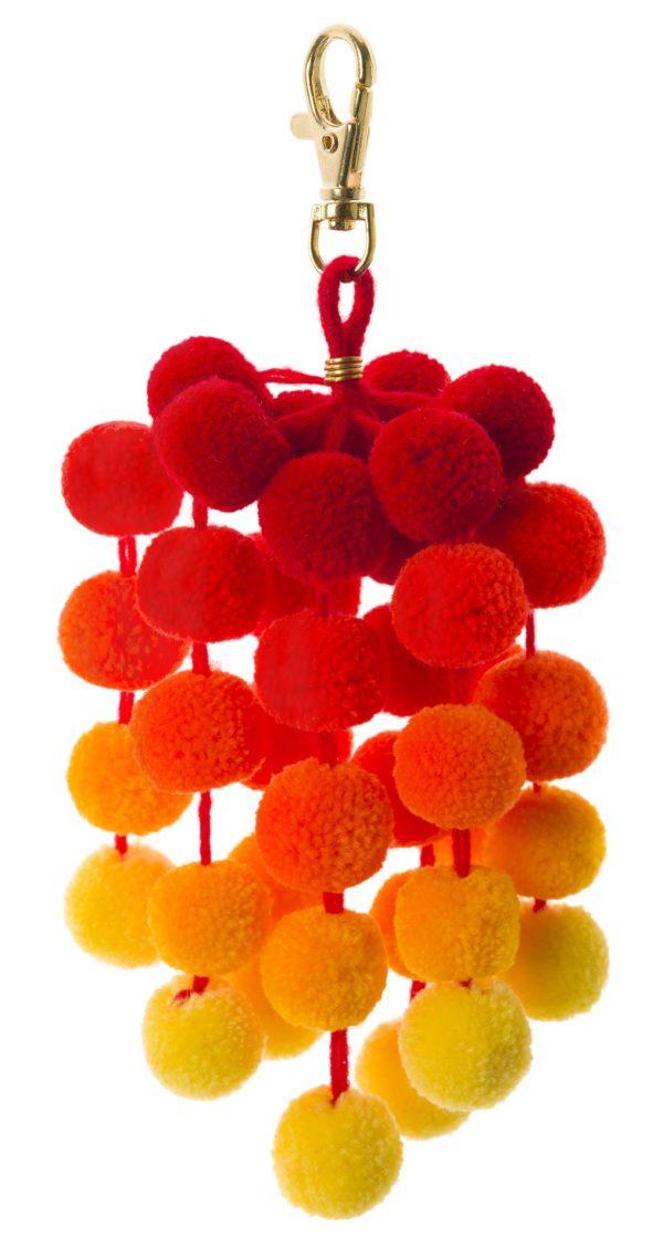 Small ombre pom pom orange bag clip