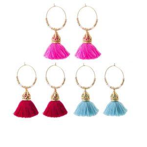 Ariadne Hoop Tassel Earrings