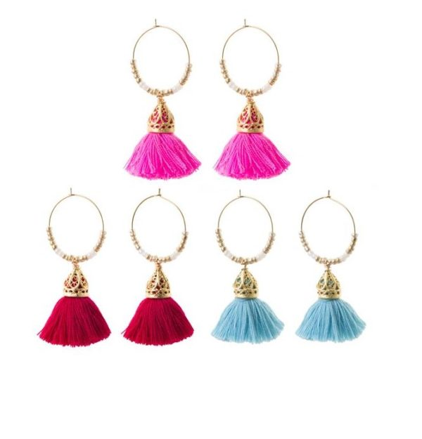 Ariadne Hoop Tassel Earrings