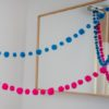 Magenta and Turquoise pom pom garland
