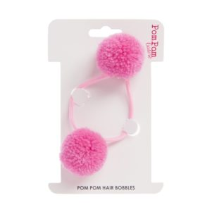 Pink double hair bobble Small Pom Pom Hair Bobbles- Double