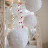 Jumbo yarn pom pom in White large medium small