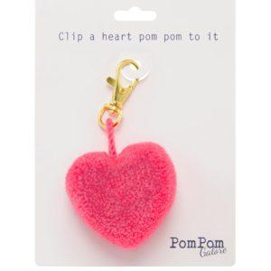 Heart Pom Pom Clip Blush PPG-HClipBL