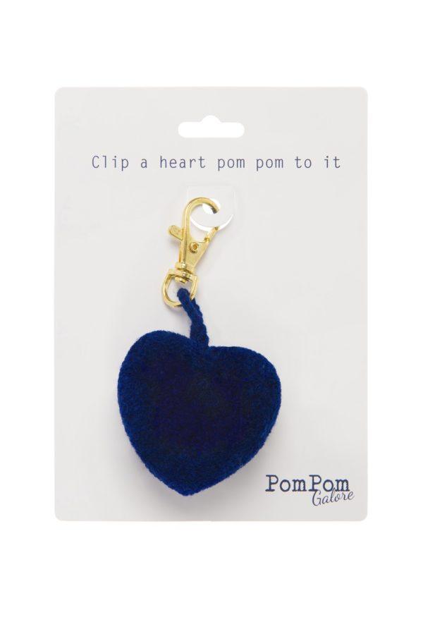 Heart Pom Pom Clip Indigo