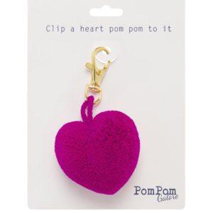 Heart Pom Pom Clip Magenta
