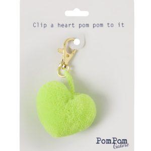Heart Pom Pom Clip Neon Lime