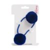 Indigo Pom Pom hair bobble small double on single elastic