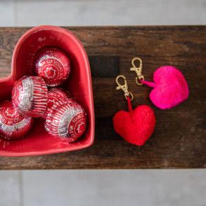 Heart Pom Pom Clips RED