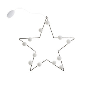Pom Pom LED Star Light with white pom poms and tiny white led fairy lights battery operated with hanging loop