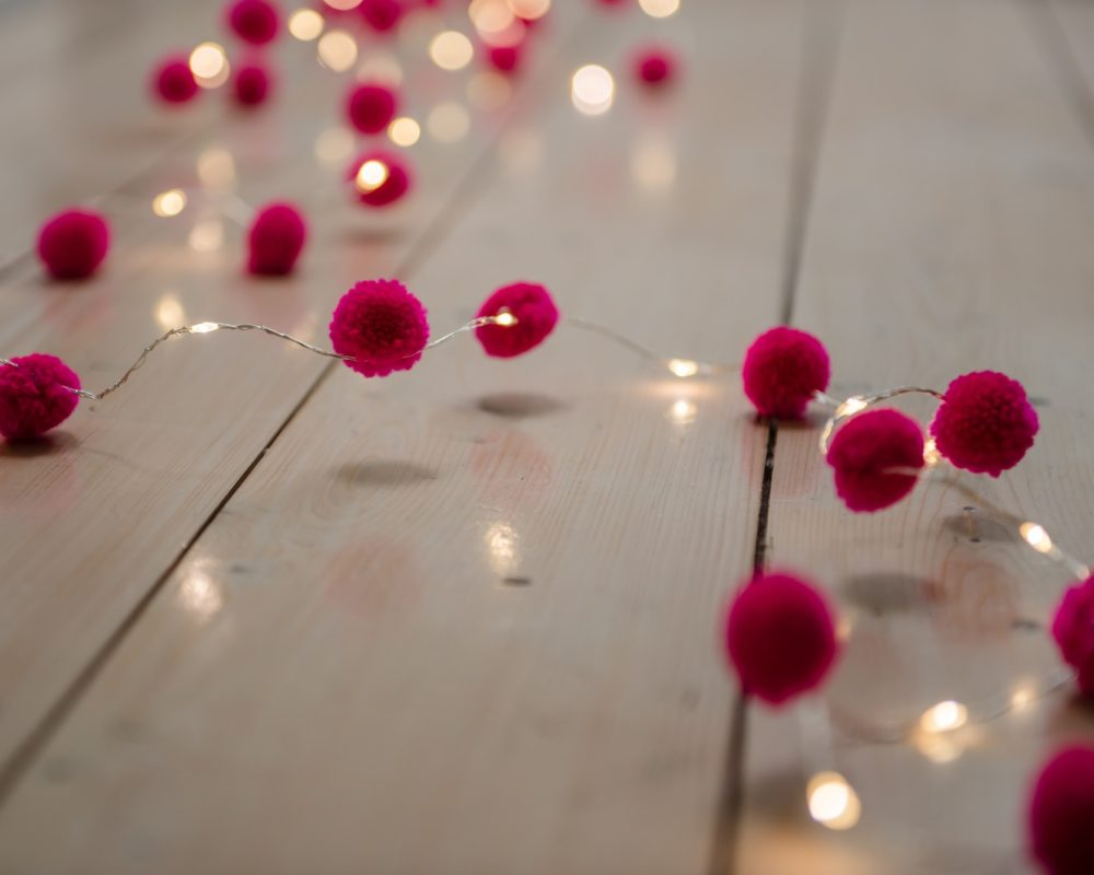 Magenta Galaxy pom pom fairy light chain