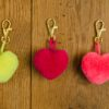 Heart Pom Pom Clips in a choice of colours red, neon yellow, magenta, blush or indigo