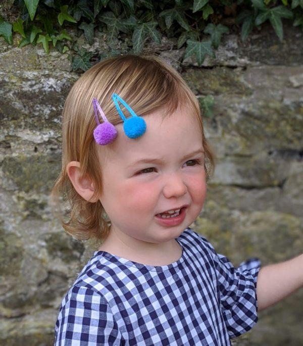 Pom Pom Hair Slides - Matt Glitter 4