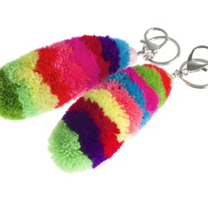 Stripey pom pom key ring