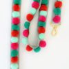 Pom Pom Bag Straps Mint Greens and Raspberry Pinks