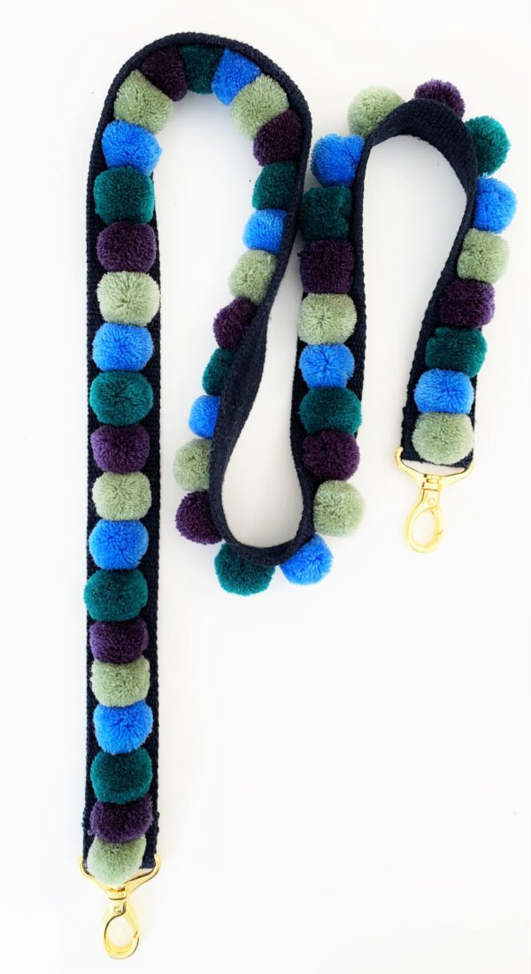 Pom pom Bag Strap Blues and Green