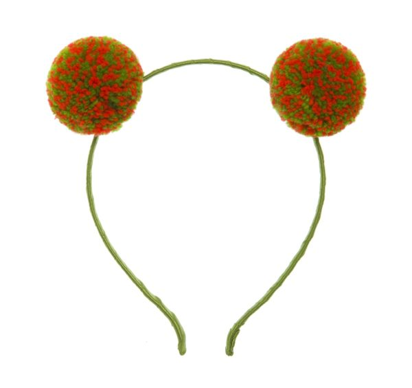 Orange and Green Speckle Pom pom hair band