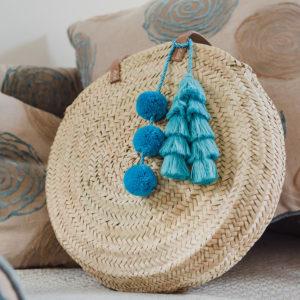 Turquoise Pom Pom and Tassel Bag Swag