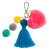 Blush heart blue tasel and poms key ring
