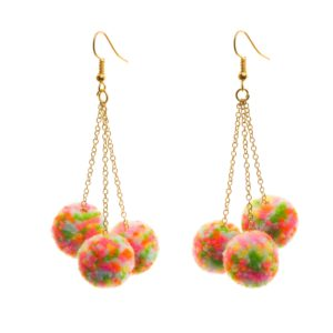 neon speckle trio pom drop earrings