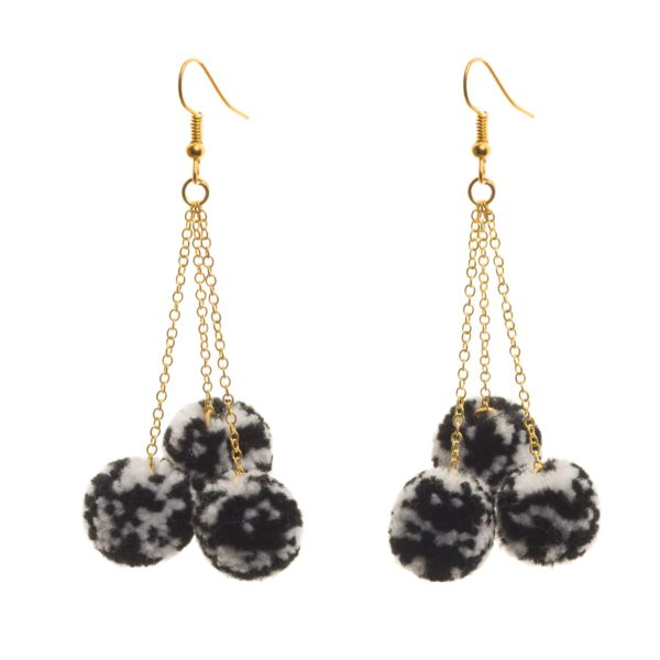 Pom Pom Speckle Earrings Trio B&W 1