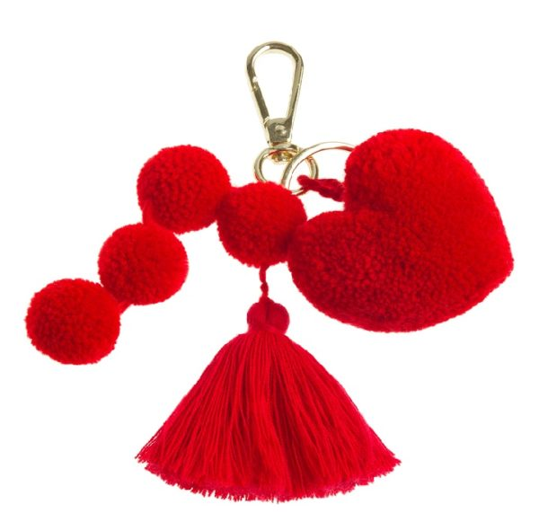 Red heart pom tassel key ring