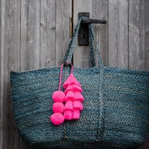 Magenta Pink Pom Pom and Tassel Bag Swag