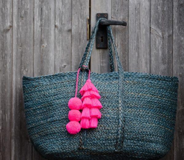 Magenta Pink Pom Pom and Tassel Bag Swag