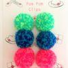 Pom pom clips set of 6 speckle pom poms