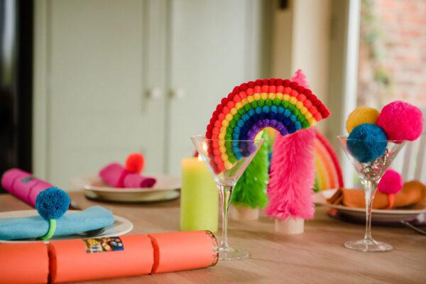 Rainbow pom pom decoration