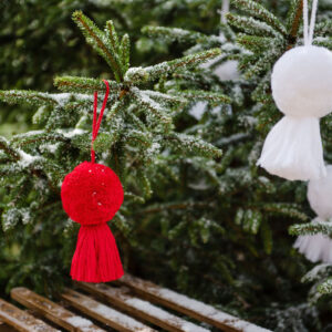 Red and White Pom pom and tassel Christmas Swag Decorations