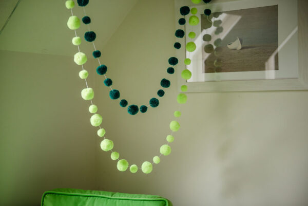 Neon Lime and Green Pom Pom Garlands