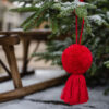 Jumbo white or red pom pom and tassel decorations 5