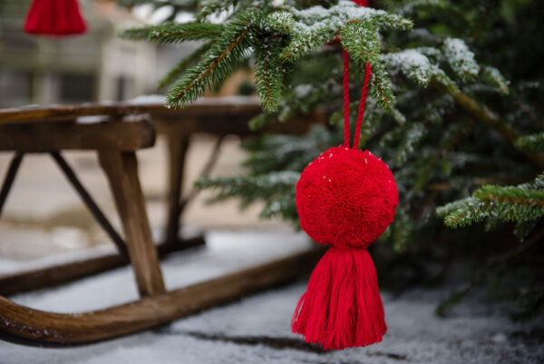 Jumbo white or red pom pom and tassel decorations 1
