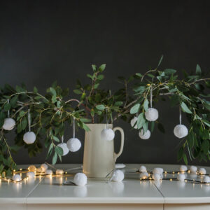 White Pom Pom Tree Baubles