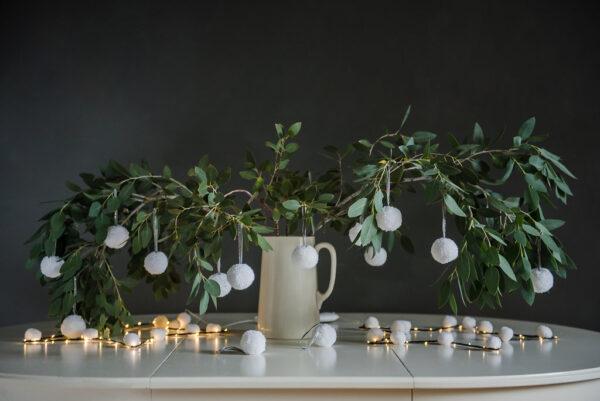 White Pom Pom Tree Baubles