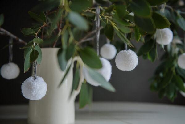 White Pom Pom Tree Baubles 1